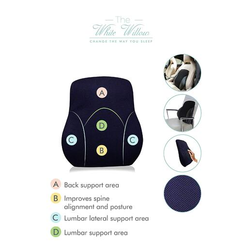 "The White Willow Orthopaedic Memory Foam Spine Lumbar Full Backrest Cushion For Back Pain Relief Compatible With Computer, Car, Office Ergonomic Chair- Anti Sweat Cover (14""L x 15""W x 5""H) Blue"
