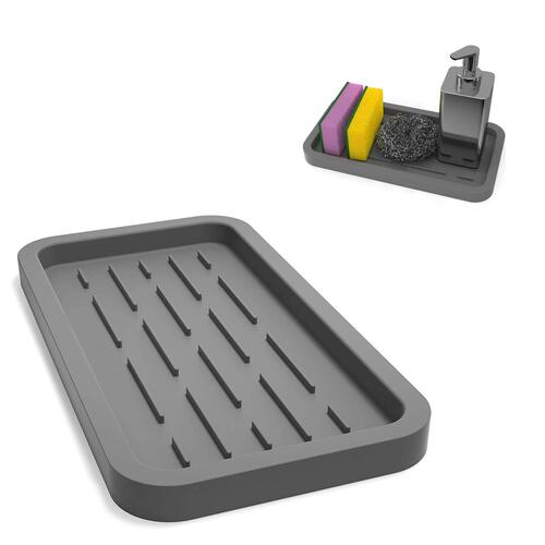 Aseem Multipurpose Use Silicone Kitchen Sink Organizer Tray (Small, Grey)
