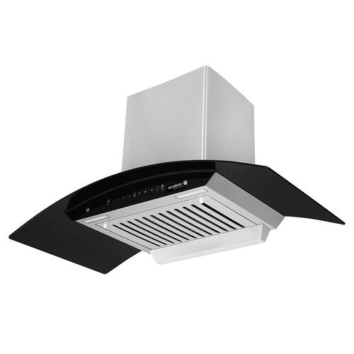 Eurodomo 90 cm 1100 m³/HR Auto-Clean Curved Glass Kitchen Chimney (Hood Orient Plus SS TC 90, 1 Baffle Filter, Touch Control, Stainless Steel)