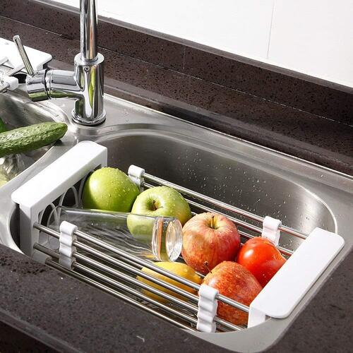 5.	FLYNGO Steel Expandable Kitchen Sink Dish Drainer and Fruits, Vegetables Strainer and Storage Organizer