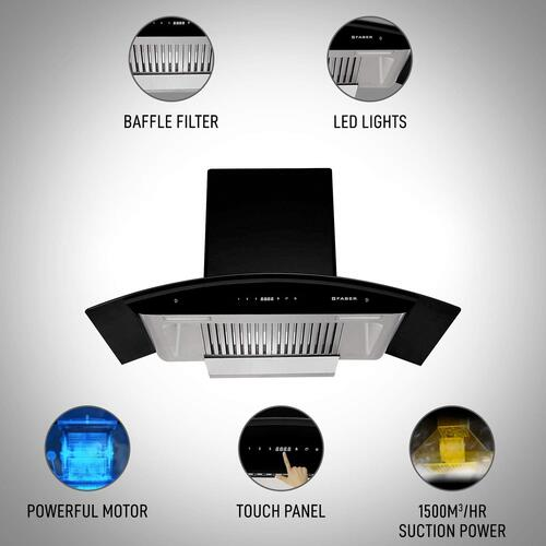 Faber 90 cm 1500 m³/HR Auto-Clean Curved Glass Kitchen Chimney (HOOD PRIMUS PLUS ENERGY HC SC BK 90, 2 Baffle Filters, Touch Control, Black)