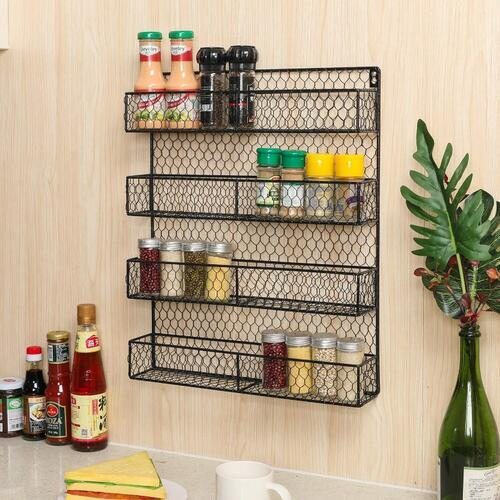 INDIAN DECOR 28765 Space Saving Wall Mounted Spice Rack Organizer 4 Tier Country Rustic Wire mesh Herb Holder Wall Mounted Storage Rack,Black