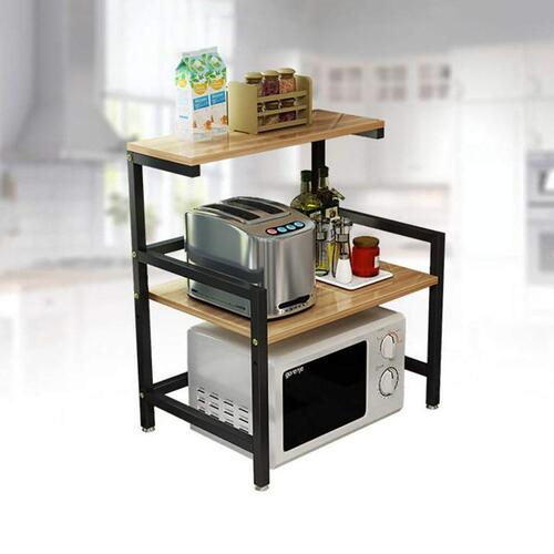 INDIAN DECOR Metal 2-Tier Kitchen Shelf Microwave Oven Multi-Function Rack (Black, 60 x 41 x 67 cm)