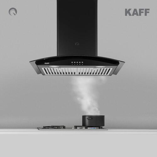 KAFF 60cm 1150 Chimney (FAB BF 60, 2 Baffle Filter, Black) Heavy Duty Stainless Steel Baffle Filter Energy Saving Frosted LED Lights 3 Speed Soft Push Button Matt Black