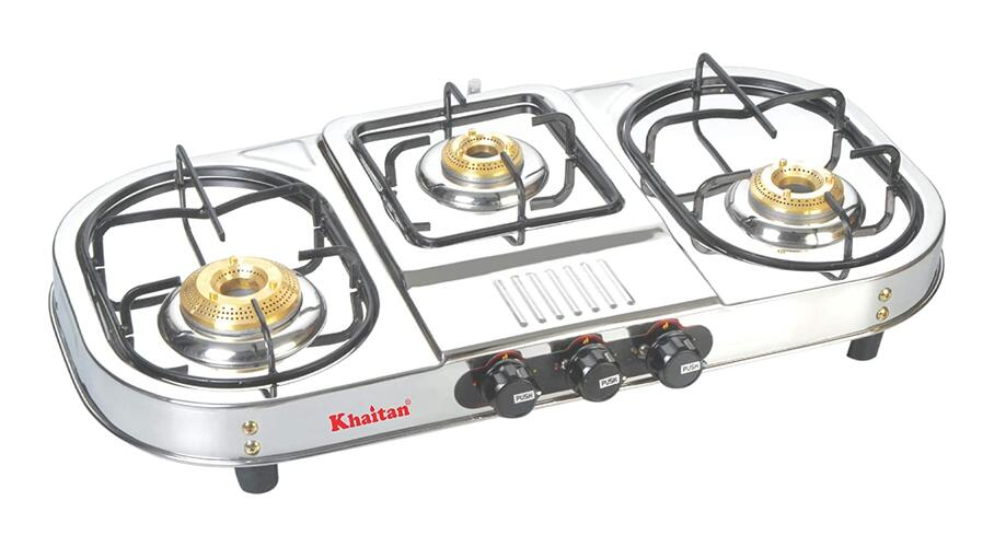 "Khaitan 3 Burner Draw""Double Decker"" (with Extra Big Party Cooking Burner) Stainless Steel"