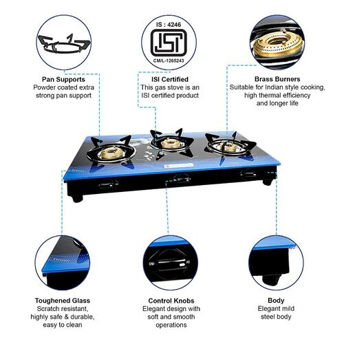 Milton Premium 3 Burner Glass Top (Blue) Manual Gas Stove with MS Frame & Brass Burners (ISI Certified)