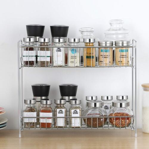 Plantex Stainless Steel 2-Tier Kitchen Rack/Spice Shelf/Kitchen/Pantry Storage Organizer(Silver-Chrome)