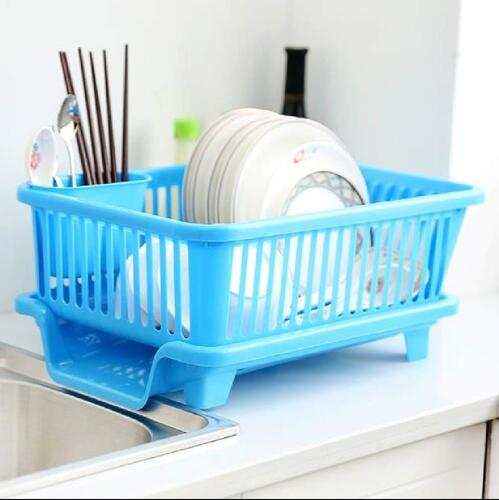 AMAZING MALL 3 in 1 Durable Plastic Kitchen Sink Dish Drying Drainer Rack Holder Basket Organizer with Tray Utensils Tools Cutlery (Multicolor) Free Safety Gloves
