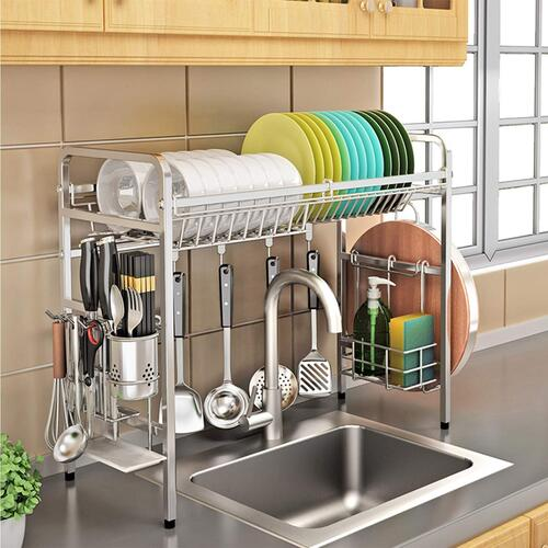 KURTZY 304 Stainless Steel over the Sink Rack for Kitchen, Dish Drainer Storage and Utensils Holder – Space Save & Organizer