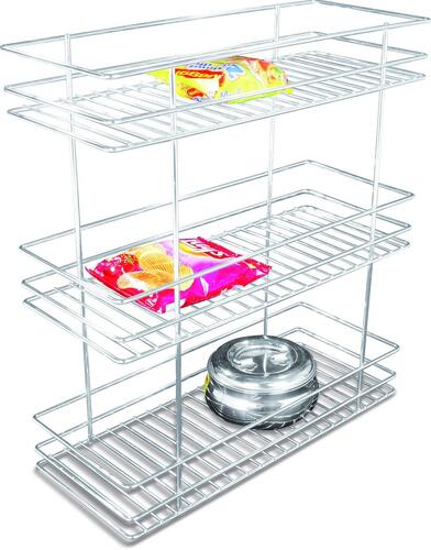 Now & Ever Stainless Steel Modular Kitchen 3 Shelves Bottle Pullout Basket, 8W X 20Dx 21H Inches, Silver