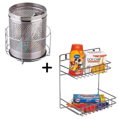 Planet Stainless Steel Detergent and Bin Holder (Silver)