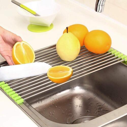 PLANTEX Stainless Steel Kitchen Sink Fruit and Vegetable Drying Drain Rack/Folding Sink Drying Rack - Assorted