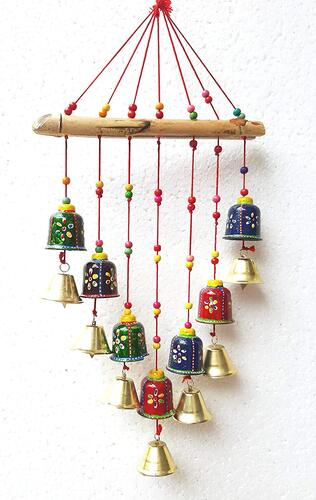 Revive Creation Handcrafted Rajasthani Colored Bells Design Wall Hanging Decorative Showpiece - 45 cm (Wood)