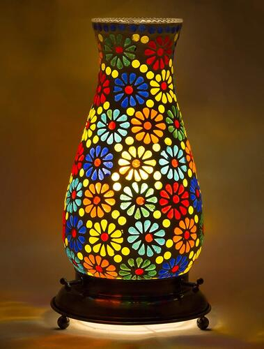 Derien Antique Mosaic Multicolr Flower Tumbler Shaped Table Lamp