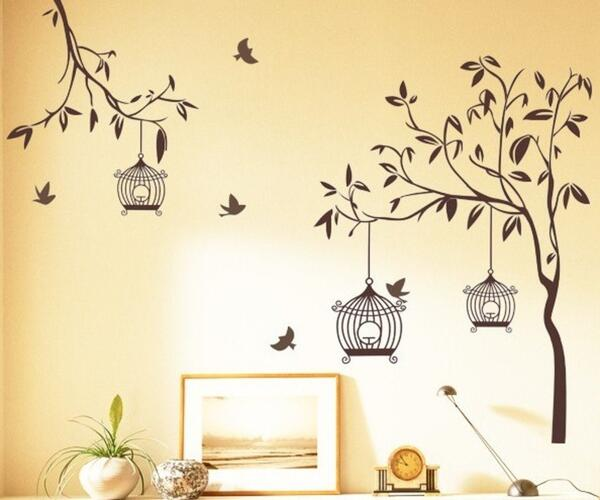Design StickersKart Wall Stickers Tree with Birds and Cages (Brown)
