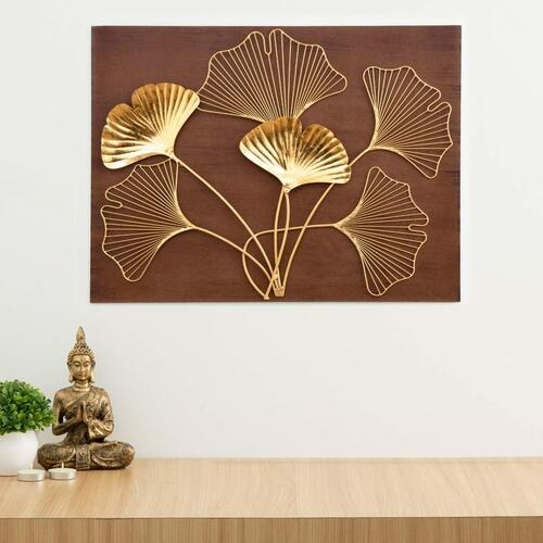 Home Centre Photomontage Textured Floral Accent Wooden Wall Art – Brown