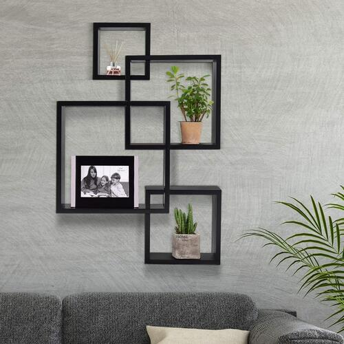 Kundi Intersecting Floating Shelves 4 Cube Square Wall Mounted Shelves Wood Home Furniture Accent Decorative Wall Shelf, Black (47 cm X 10 cm X 65 cm, Black)