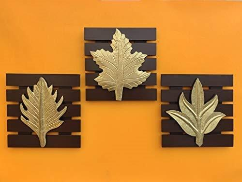 Maple Craft Wood Brass Wall Art (Gold & Brown_8 X 8 Inch)