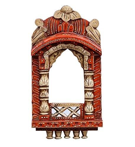 Mina Solid Wood Hand Painted 16'' Wall Hanging Jharokha