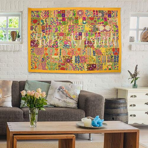 Patchwork Design Indian Heavy Embroidery Wall Art Tapestry Cotton Wall Hanging by Hare Krishna