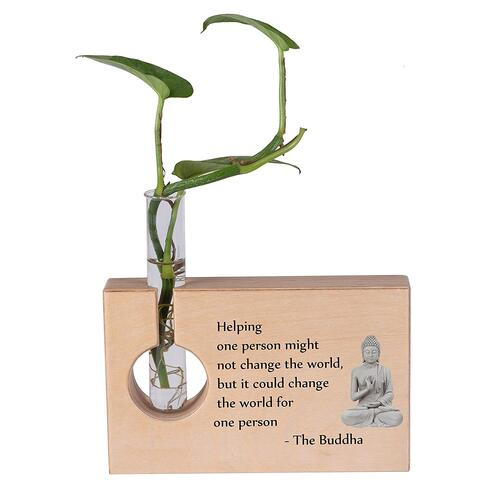 RK Cart Lord Buddha Wooden Decorative Items for Home & Office Table Accessories, Plant Holder Stand with Test Tube Vase