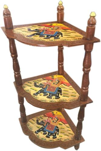 Saarthi Rajasthani Handcrafted And Elephant Dhola Maru Design Handpainted Wooden Corner Rack