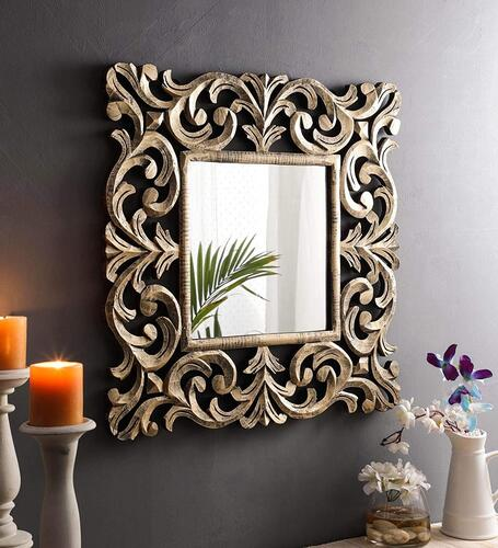 The Urban Store Wood Decorative Hand Crafted Mirror, 24 X Inch (Gold)