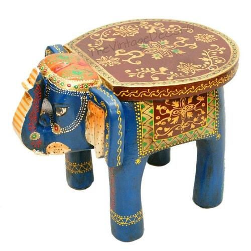 TheVintageDecor Wooden Elephant Table Cum Stool/Handcrafted with Artistic Painting