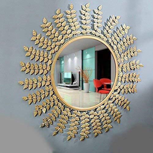 Furnish Craft Steel Glass Wall Mirror (Gold_24 Inch)