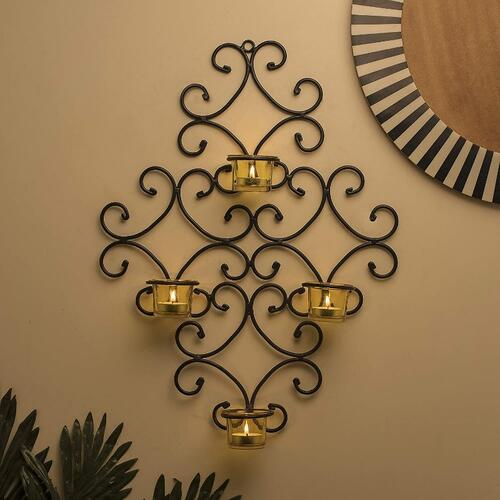 Homesake® 4-Votive Victorian Black Iron Wall Sconce Candle Holder, Yellow Candle Wall Art