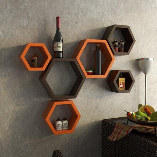 Onlineshoppee Hexagon Designer Storage Shelf, Set of 6 (Orange and Brown)