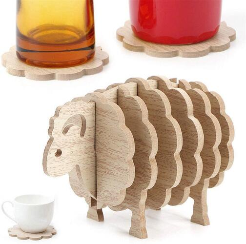 CARTSHOPPER Drink Coasters,Sheep Shape Anti Slip Drink Coasters Insulated Round Felt Cup Mats Home/Office Decor Gift,Wood Sheep