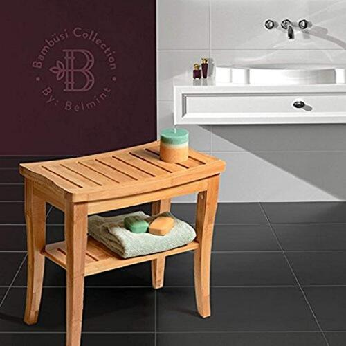 Callas Shower Bench Bamboo Stool with Storage Shelf, Bath Seat Bench Stool Perfect for Indoor or Outdoor