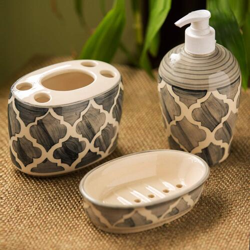 Exclusive Lane Moroccan Essentials Hand painted 3 Piece Ceramic Bathroom Accessory, Grey and Off White