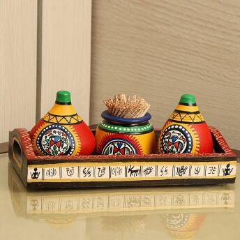ExclusiveLane Terracotta Warli Handpainted Matki Shaped Kitchen Pepper Dispenser Salt Pepper Set for Dining Table & Salt and Pepper Shakers Set with Toothpick Holder (60 ML, Red)