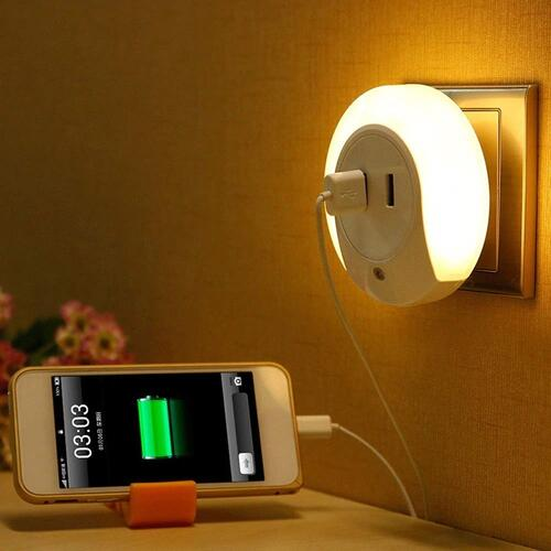 HOME CUBE 1 Pc Smart Control Sensor LED Night Light Bedroom Lamp with Dual USB Phone Charging Switch Socket (Warm White)