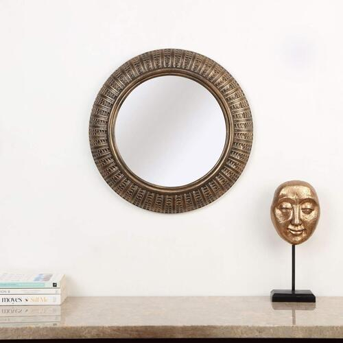 Home Centre Corvus Textured Round Wall Mirror – Gold