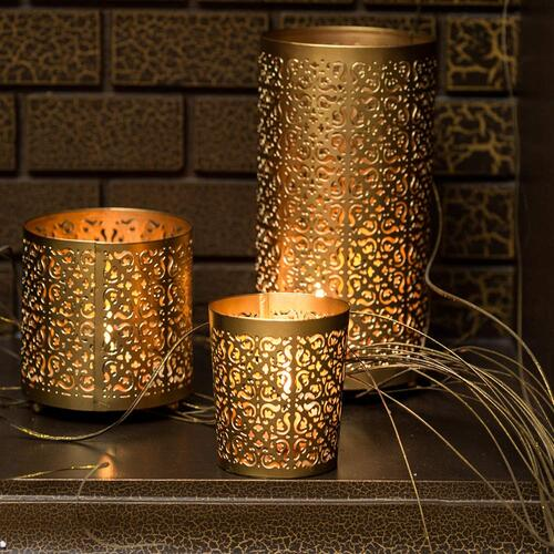 7.	Lighthaus Candle Holders Metallic - Set of 3 with Free 12 Scented Tealight Candles