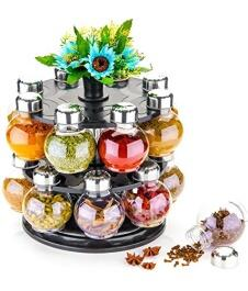 Mr Products Plastic Multipurpose Revolving Spice Jar/ Condiment Set Rack, 250 ml, 16 Pieces, Multicolor