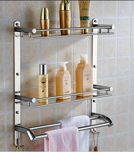 OSLEN Stainless Steel Double Layer Shelf with Towel Road, Multipurpose Wall Mount Bath Shelf Organizer, Kitchen Shelf/Bathroom Shelf and Rack/Bathroom Accessories