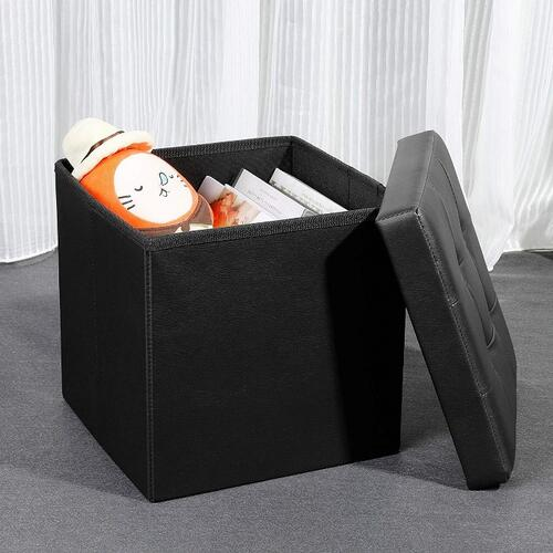 TIED RIBBONS Collapsible Ottoman Cum Storage Accessories for Living Room | Ottoman Coffee Table | Collapsible Furniture Foot Stool, Footrest Step Stool for Living Room (Faux Leather,Black)