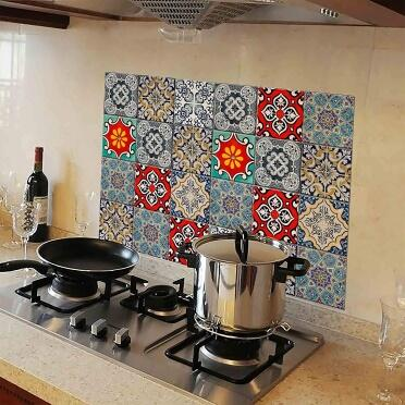 WallDesign Kitchen Protection Anti-Mark Oil Proof Easy Clean Plastic Wall Stickers Mosaic Tiles Design (PVC Vinyl, 76 cm x 50 cm)