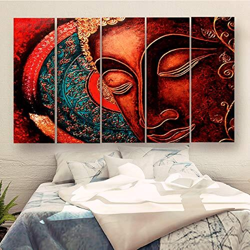 CasperMe Multiple Frames Beautiful Buddha Art Wall Painting for Living Room, Bedroom, Hotels & Office 7mm Hard Wooden Board (50 x 30 inches)