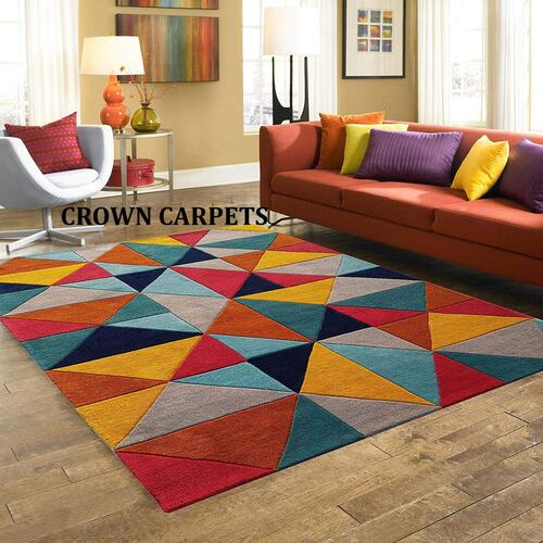 Crown Carpet Handmade Tuffted Thick Geometrical Design for Living Room Bedroom Size 5 x 8 feet (150X240 cm) Wollen Multi Colour