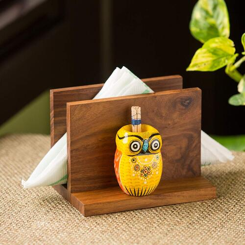 ExclusiveLane 'An Owl's Vibrance' Décor Wooden Paper Napkin Holders for Dining Table Tissue Paper Holder for Table & Tissue Stand With Toothpick Holder