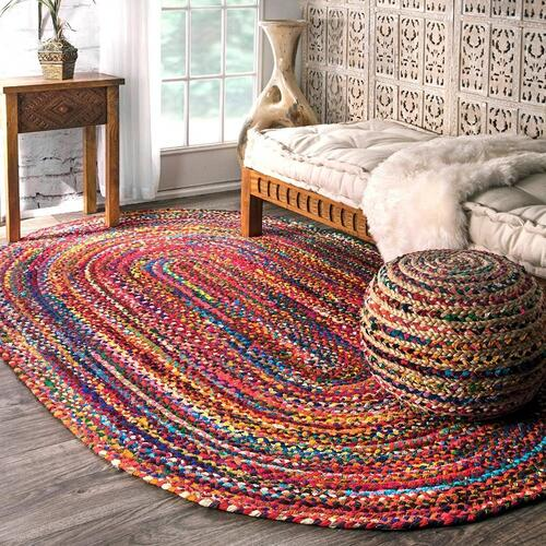 Fernish Decor Braided Cotton Carpet Rug Multicolor for Bedroom 3x5 Feet Oval