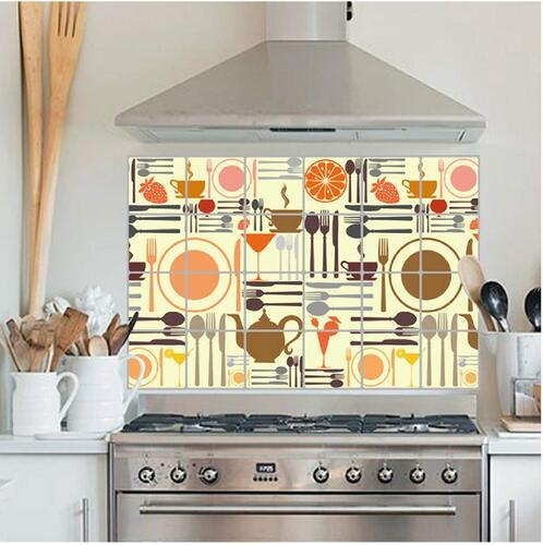 Jaamso Royals Vinyl Kitchen Self-Adhesive Oil Proof Wall Sticker/Decal (60 X 90 cm, Multicolor)
