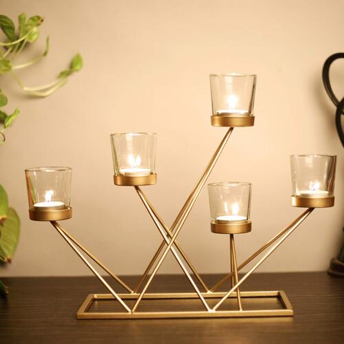 KDH Innovative Candelabra Non Tarnish Metal Candle Holder/Stand I Home Decor I Table Decoration I Fireplace I Spa I Gift and Accessories - (LxBxH - 15.5x4.5x11) inch