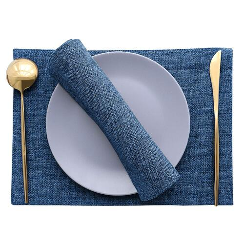 Khooti Jute Tablemats/Placemats Set of 6 Heat Resistant Dining Table Place Mats for Kitchen Table Party, 12 x 18 inches, (Navy Blue)