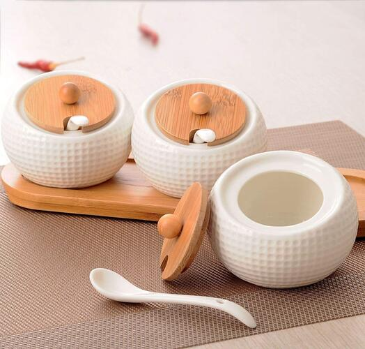 Kurzty Ceramic Jar Storage Organizer for Pickle Masala with Spoons & Tray, 200ML, 3 Pieces, White